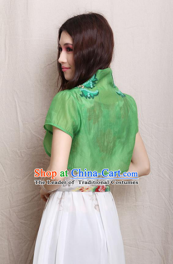 Traditional Ancient Chinese National Costume, Elegant Hanfu Cape Coat, China Tang Suit Stand Collar Embroidered Cappa, Upper Outer Garment Embroidered Green Tippet Clothing for Women