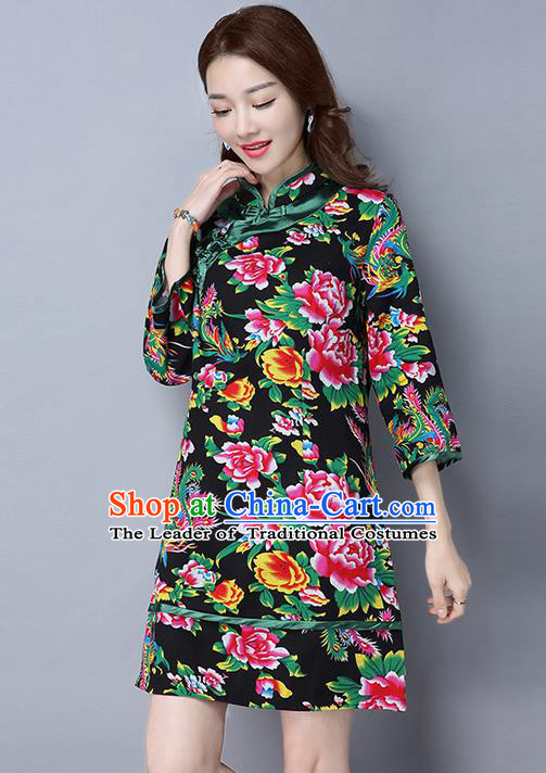 Traditional Ancient Chinese National Costume, Elegant Hanfu Plated Button Green Printing Peony Black Dress, China Tang Suit Cheongsam Dress Upper Outer Garment Dress Clothing for Women
