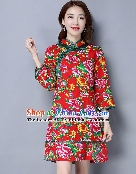 Traditional Ancient Chinese National Costume, Elegant Hanfu Plated Button Green Printing Peony Red Dress, China Tang Suit Cheongsam Dress Upper Outer Garment Dress Clothing for Women