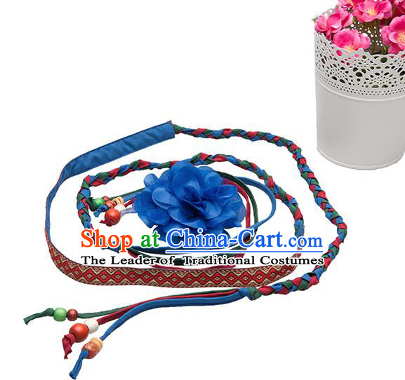 Traditional Chinese National Crafts Female Waistband, Handmade Blue Flowers Embroidery Belt Accessories Pendant for Women