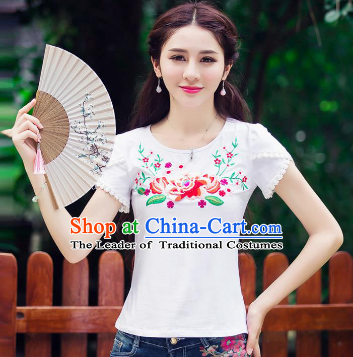Traditional Ancient Chinese National Costume, Elegant Hanfu Short Sleeve T-Shirt, China Tang Suit Embroidered Peony White Blouse Cheongsam Upper Outer Garment Shirts Clothing for Women