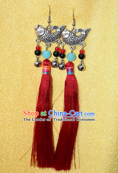 Traditional Chinese Miao Nationality Crafts Jewelry Accessory Classical Earbob Accessories, Hmong Handmade Miao Silver Fish Palace Lady Red Silk Tassel Earrings, Miao Ethnic Minority Eardrop for Women