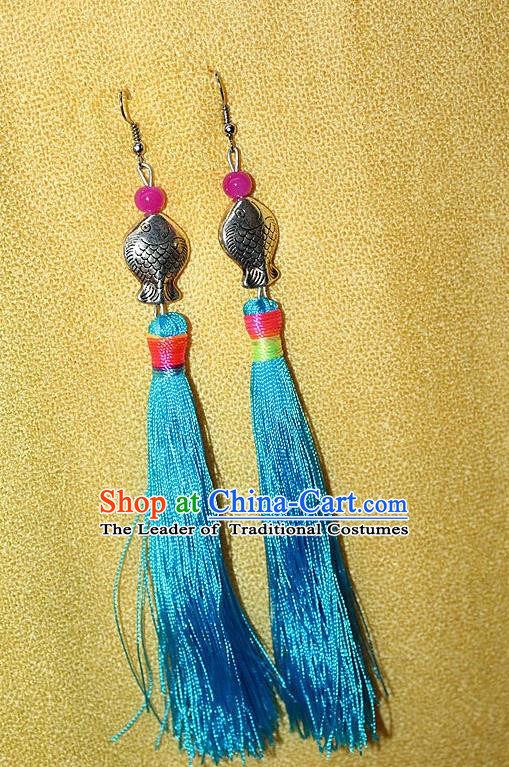 Traditional Chinese Miao Nationality Crafts Jewelry Accessory Classical Earbob Accessories, Hmong Handmade Miao Silver Kiss Fish Palace Lady Blue Silk Tassel Earrings, Miao Ethnic Minority Eardrop for Women