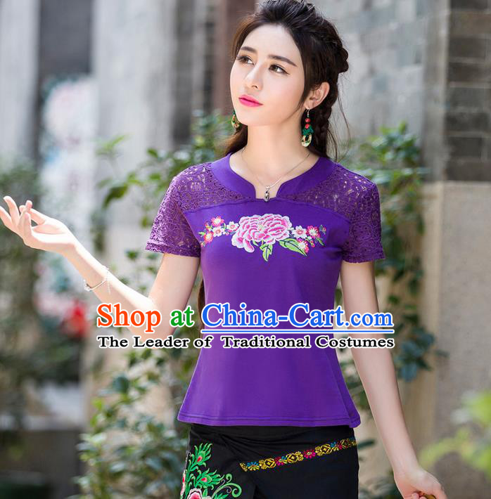 Traditional Ancient Chinese National Costume, Elegant Hanfu Embroidery Peony Flowers Lace Purple Shirt, China Tang Suit Blouse Cheongsam Upper Outer Garment Qipao Shirts Clothing for Women