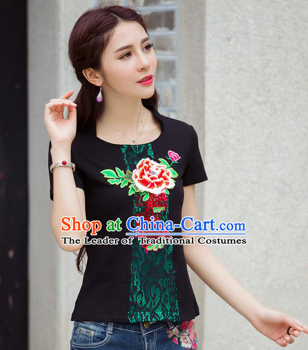 Traditional Ancient Chinese National Costume, Elegant Hanfu Embroidered Peony Flowers Black T-Shirt, China Tang Suit Short Sleeve Blouse Cheongsam Qipao Shirts Clothing for Women