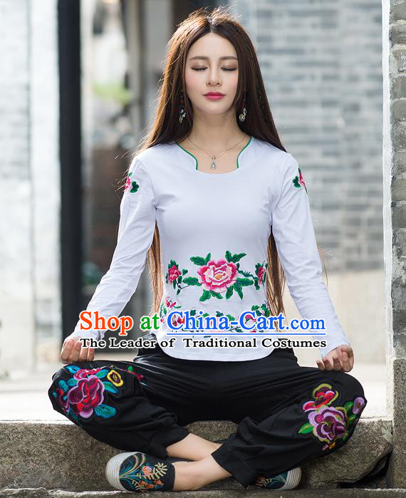 Traditional Ancient Chinese National Costume, Elegant Hanfu Embroidery Peony Flowers T-Shirt, China Tang Suit Blouse Cheongsam Upper Outer Garment White T-Shirts Clothing for Women