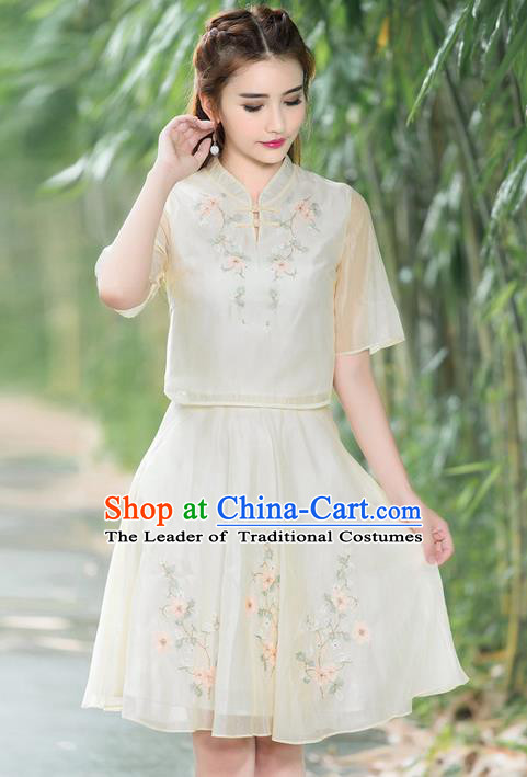 Traditional Ancient Chinese Ancient Costume, Elegant Hanfu Clothing Embroidered Organza Dress, China Tang Dynasty Blouse and Skirt Complete Set for Women