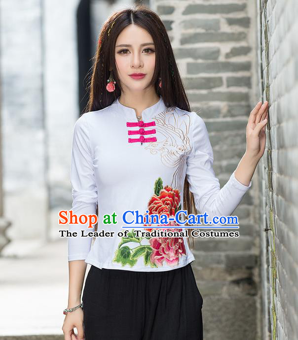 Traditional Ancient Chinese National Costume, Elegant Hanfu Embroidered Peony Flowers Plated Buttons T-Shirt, China Tang Suit Mandarin Collar White Blouse Cheongsam Qipao Base Shirts Clothing for Women