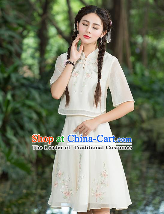 Traditional Ancient Chinese Ancient Costume, Elegant Hanfu Clothing Embroidered Dress, China Ming Dynasty Elegant Blouse and Skirt Complete Set for Women