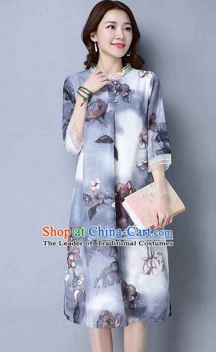 Traditional Ancient Chinese National Costume, Elegant Hanfu Printing Chiffon Dress, China Tang Suit Cheongsam Upper Outer Garment Elegant Dress Clothing for Women