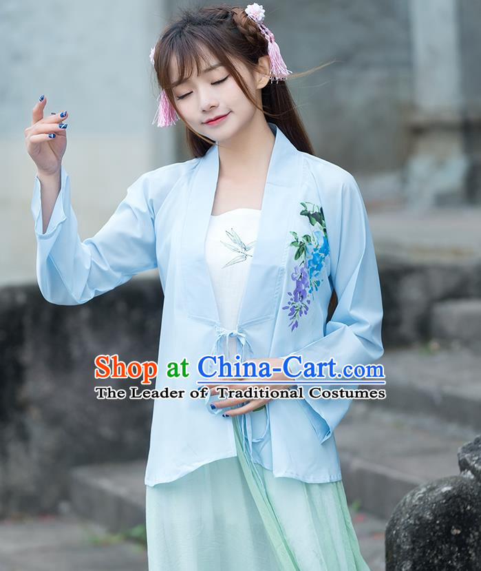 Traditional Ancient Chinese National Costume, Elegant Hanfu Printing Chiffon Light Blue Shirt, China Ming Dynasty Tang Suit Blouse Cheongsam Qipao Shirts Clothing for Women