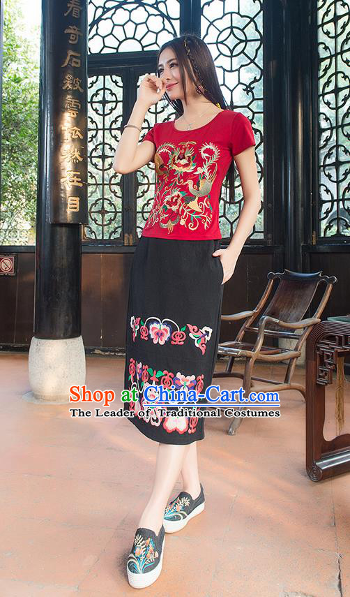 Traditional Chinese National Costume, Elegant Hanfu Embroidery Phoenix Totem Red T-Shirt, China Tang Suit Blouse Cheongsam Upper Outer Garment Qipao Shirts Clothing for Women