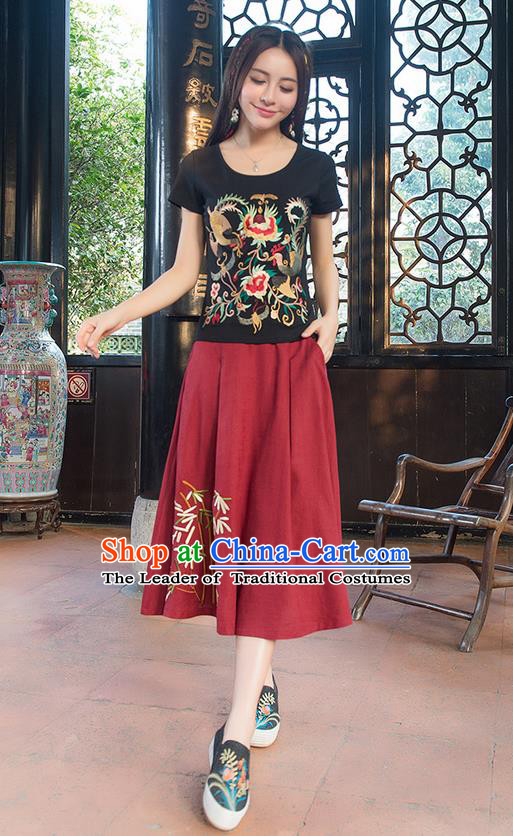 Traditional Chinese National Costume, Elegant Hanfu Embroidery Phoenix Totem Black T-Shirt, China Tang Suit Blouse Cheongsam Upper Outer Garment Qipao Shirts Clothing for Women