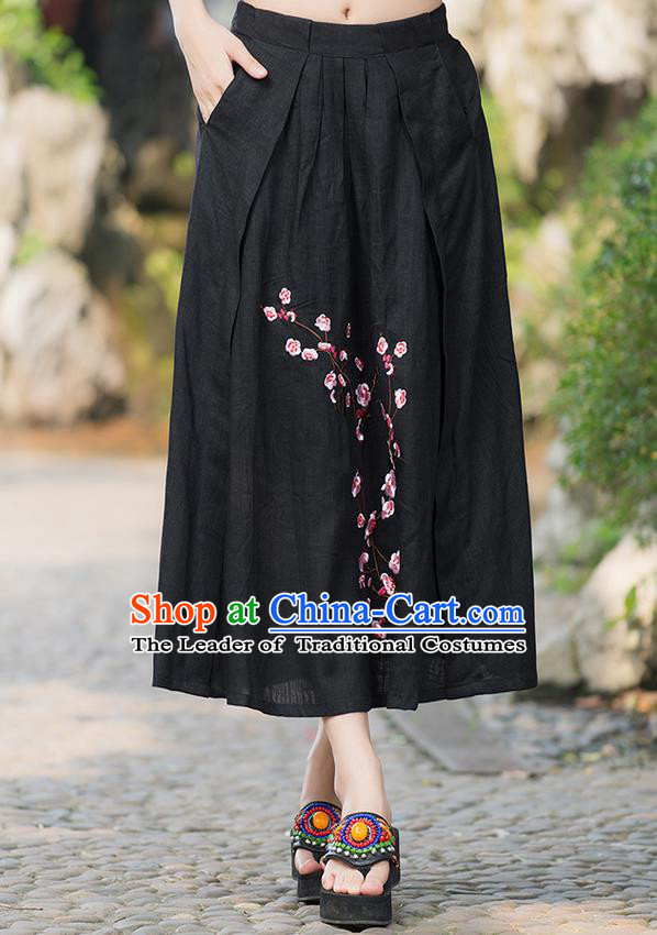 Traditional Ancient Chinese National Costume Pleated Skirt, Elegant Hanfu Embroidered Plum Blossom Linen Black Dress, China Tang Suit Bust Skirt for Women