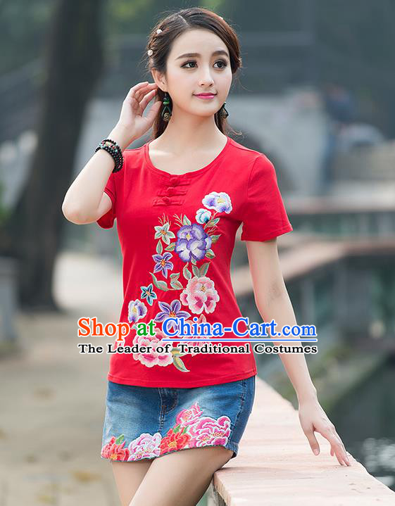 Traditional Chinese National Costume, Elegant Hanfu Embroidery Plate Buttons Red T-Shirt, China Tang Suit Blouse Cheongsam Upper Outer Garment Qipao Shirts Clothing for Women