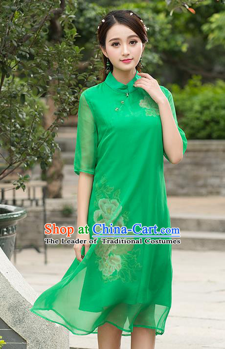 Traditional Ancient Chinese National Costume, Grace Hanfu Mandarin Qipao Embroidered Green Dress, China Tang Suit Stand Collar Cheongsam Upper Outer Garment Elegant Dress Clothing for Women