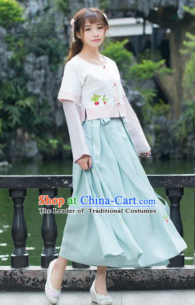 Traditional Ancient Chinese Ancient Costume, Elegant Hanfu Clothing Embroidered Blouse and Dress, China Ming Dynasty Elegant Blouse and Skirt Complete Set for Women