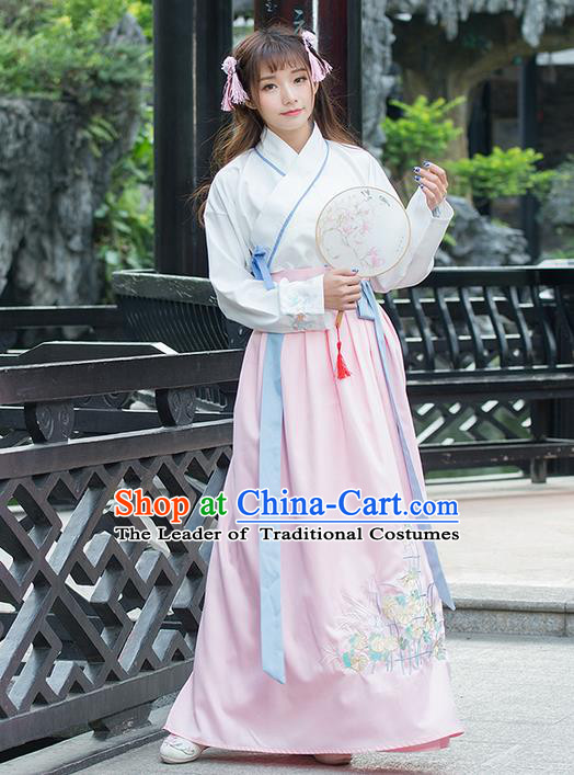 Traditional Ancient Chinese Costume, Elegant Hanfu Clothing Embroidered Slant Opening Blouse and Dress, China Ming Dynasty Elegant Blouse and Pink Ru Skirt Complete Set for Women