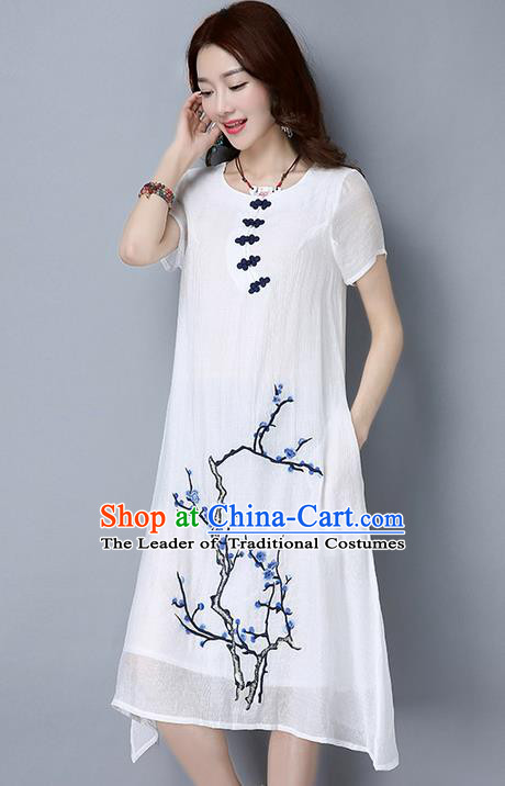Traditional Ancient Chinese National Costume, Elegant Hanfu Mandarin Qipao Linen Hand Painting Plum Blossom White Dress, China Tang Suit Plate Buttons Cheongsam Upper Outer Garment Elegant Dress Clothing for Women