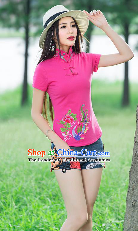 Traditional Chinese National Costume, Elegant Hanfu Embroidery Wear Peony Fung Stand Collar Pink T-Shirt, China Tang Suit Plated Buttons Blouse Cheongsam Upper Outer Garment Qipao Shirts Clothing for Women