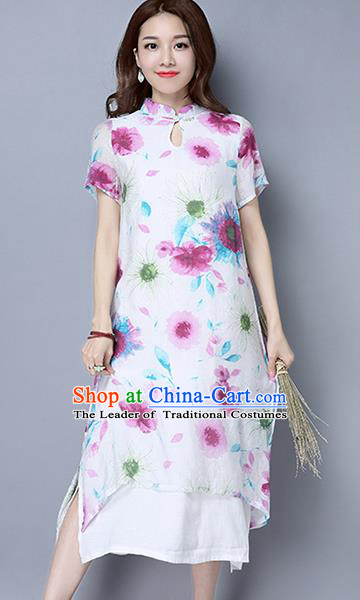 Traditional Ancient Chinese National Costume, Elegant Hanfu Mandarin Qipao Linen Hand Painting White Dress, China Tang Suit Republic of China Cheongsam Upper Outer Garment Elegant Dress Clothing for Women