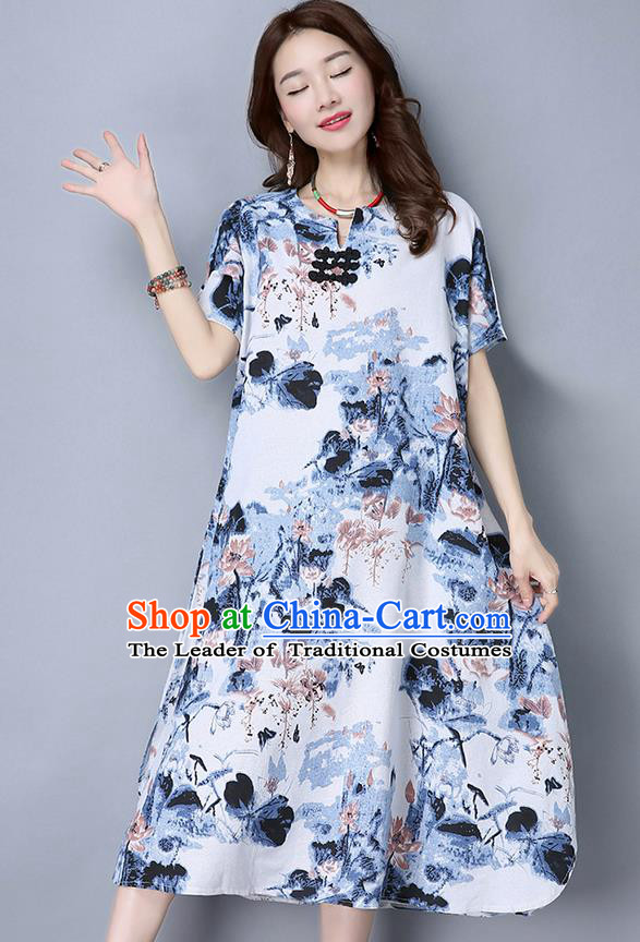 Traditional Ancient Chinese National Costume, Elegant Hanfu Mandarin Qipao Linen Ink Painting Blue Dress, China Tang Suit Republic of China Cheongsam Upper Outer Garment Elegant Dress Clothing for Women