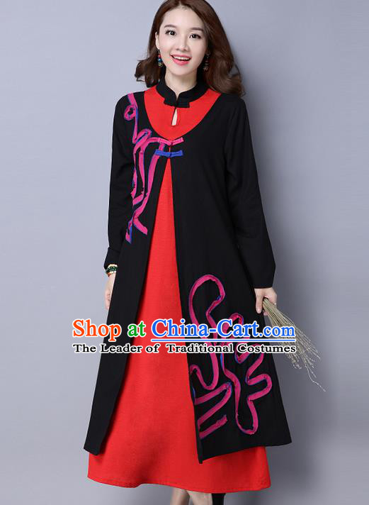 Traditional Ancient Chinese National Costume, Elegant Hanfu Mandarin Qipao Linen Contrast Color Dress, China Tang Suit Chirpaur Republic of China Stand Collar Cheongsam Upper Outer Garment Elegant Dress Clothing for Women