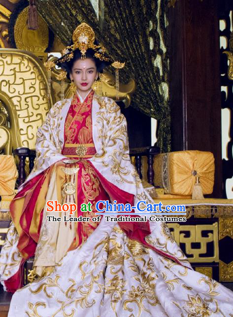 Traditional Ancient Chinese Elegant Imperial Empress Costume, Chinese Warring States Period Dynasty Imperial Queen Dress, Chinese Cosplay Palace Kaiserin Nobility Hanfu Tailing Embroidered Clothing for Women