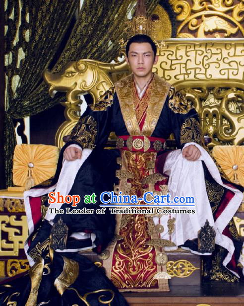 Traditional Ancient Chinese Imperial Emperor Costume, Chinese Warring States Period Majesty Dress, Chinese King Dragon Robes, Ancient China Imperial Padishah Tailing Embroidered Clothing for Men