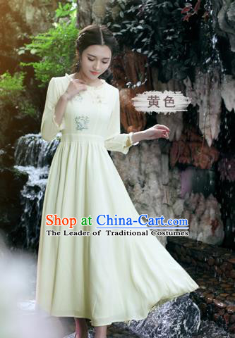 Traditional Ancient Chinese National Costume, Elegant Hanfu Linen Embroidery Apricot Dress, China Tang Suit Chirpaur Republic of China Cheongsam Upper Outer Garment Elegant Dress Clothing for Women