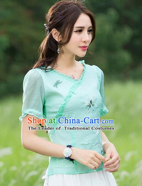 Traditional Chinese National Costume, Elegant Hanfu Embroidery Flowers Blue T-Shirt, China Tang Suit Republic of China Short Sleeve Blouse Cheongsam Upper Outer Garment Qipao Shirts Clothing for Women