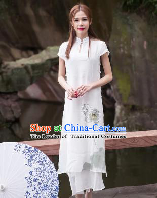 Traditional Ancient Chinese National Costume, Elegant Hanfu Mandarin Qipao Painting Lotus White Dress, China Tang Suit Chirpaur Republic of China Cheongsam Upper Outer Garment Elegant Dress Clothing for Women