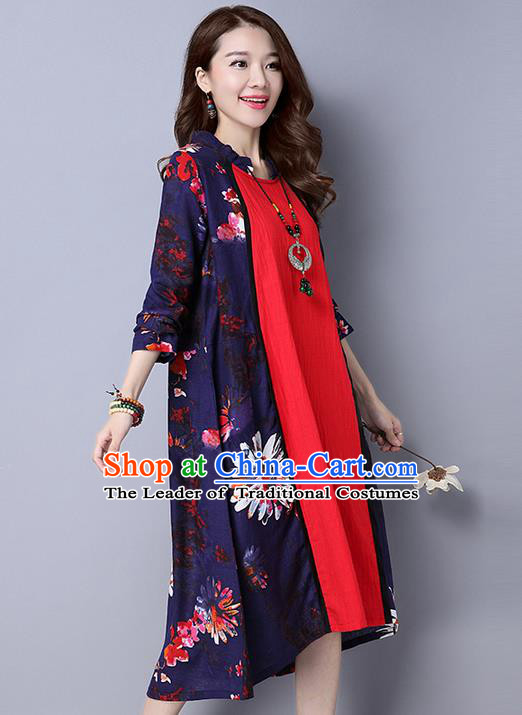 Traditional Ancient Chinese National Costume, Elegant Hanfu Mandarin Collar Printing Dress, China Tang Suit Upper Outer Garment Big Swing Elegant Dress Clothing for Women
