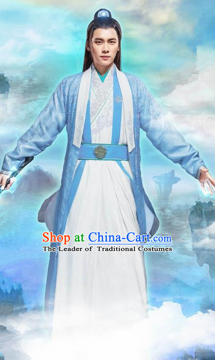 Traditional Ancient Chinese Swordsman Costume, Chinese Han Dynasty Jiang Hu Swordsman Robe, Cosplay Imperial Prince Chinese Bladesman Dandies Hanfu Embroidery Clothing for Men