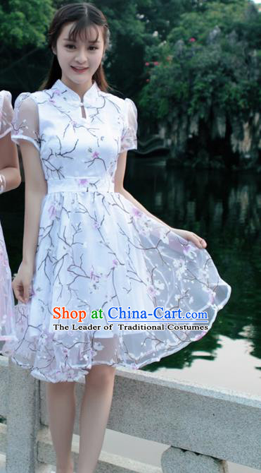 Traditional Ancient Chinese National Costume, Elegant Hanfu Mandarin Qipao Organza White Bubble Dress, China Tang Suit Chirpaur Republic of China Cheongsam Upper Outer Garment Elegant Dress Clothing for Women