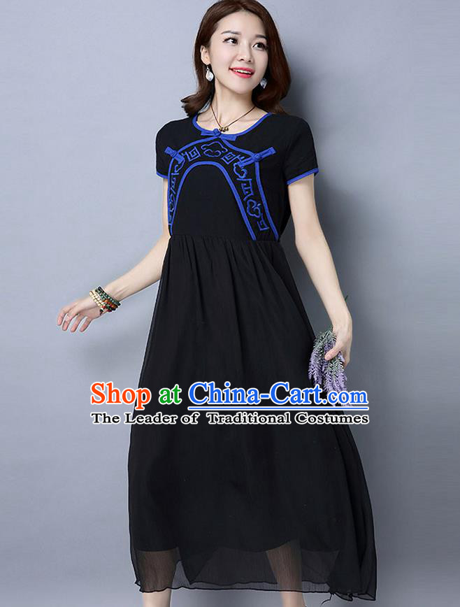 Traditional Ancient Chinese National Costume, Elegant Hanfu Qipao Linen Embroidery Black Dress, China Tang Suit Chirpaur Republic of China Cheongsam Upper Outer Garment Elegant Dress Clothing for Women