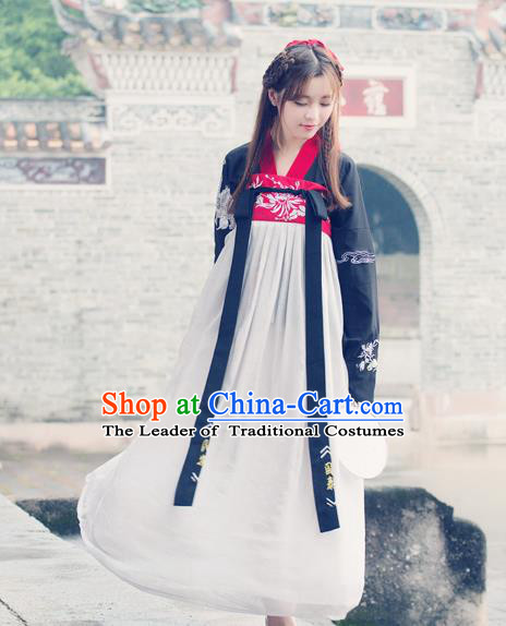 Traditional Ancient Chinese Costume, Elegant Hanfu Clothing Embroidered Black Blouse and Dress, China Tang Dynasty Princess Elegant Blouse and Skirt Complete Set for Women