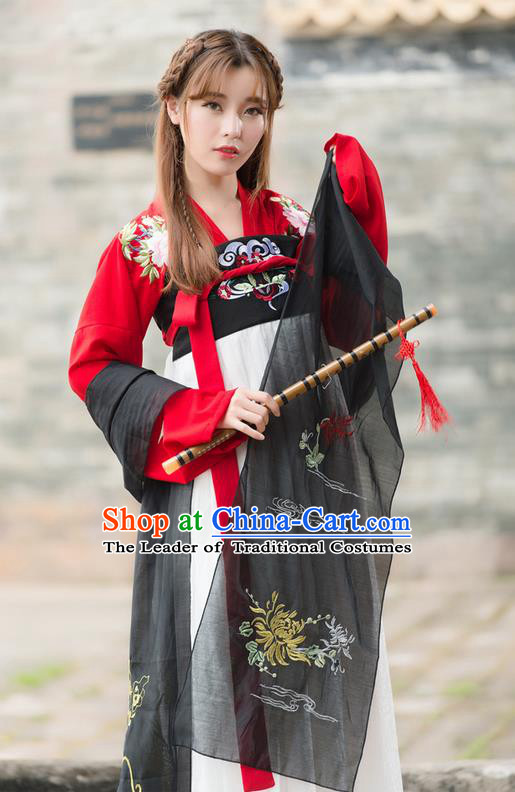 Traditional Ancient Chinese Costume, Elegant Hanfu Clothing Embroidered Red Blouse and Dress, China Tang Dynasty Princess Elegant Blouse and Skirt Complete Set for Women