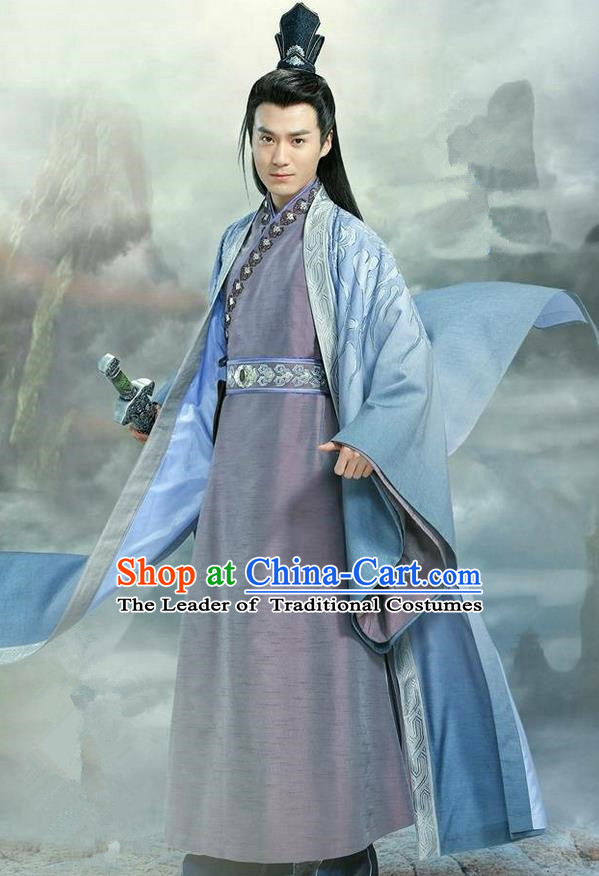 Traditional Ancient Chinese Elegant Swordsman Costume, Chinese Han Dynasty Jiang Hu Swordsman Robe, Cosplay Prince Nobility Childe Chinese General Hanfu Embroidery Clothing for Men