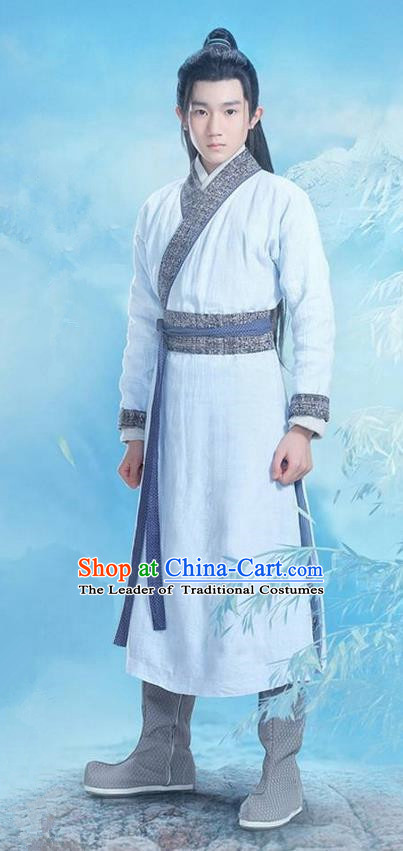 Traditional Ancient Chinese Swordsman Costume, Chinese Han Dynasty Jiang Hu Swordsman Robe, Cosplay Chinese Bladesman Hanfu Clothing for Men