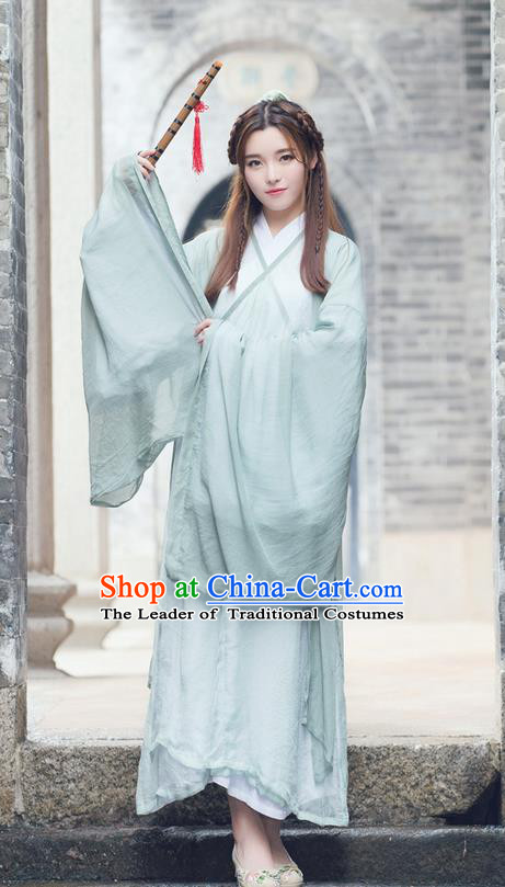 Traditional Ancient Chinese Costume, Elegant Hanfu Clothing Slant Opening Cardigan Blouse and Dress, China Han Dynasty Princess Elegant Blouse and Skirt Complete Set for Women