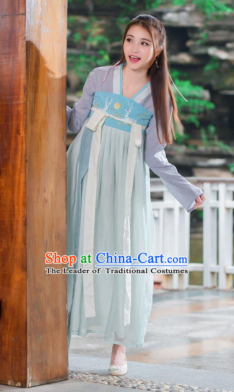 Traditional Ancient Chinese Costume, Elegant Hanfu Clothing Embroidered Blouse and Dress, China Tang Dynasty Princess Cosplay Fairy Elegant Blouse and Skirt Complete Set for Women