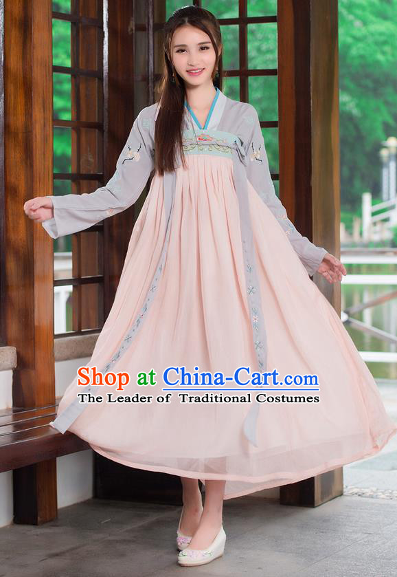 Traditional Ancient Chinese Costume, Elegant Hanfu Clothing Embroidery Wearing Silks Blouse and Dress, China Tang Dynasty Princess Blouse and Skirt Complete Set for Women
