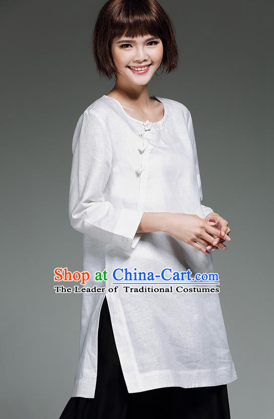 Traditional Chinese National Costume, Elegant Hanfu Embroidery Slant Opening Long White Shirt, China Tang Suit Republic of China Plated Buttons Blouse Cheongsam Upper Outer Garment Qipao Shirts Clothing for Women