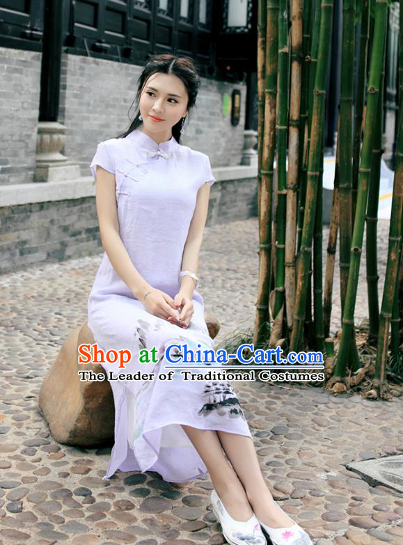 Traditional Ancient Chinese National Costume, Elegant Hanfu Mandarin Qipao Linen Hand Painting Orchid Purple Dress, China Tang Suit Chirpaur Republic of China Cheongsam Upper Outer Garment Elegant Dress Clothing for Women