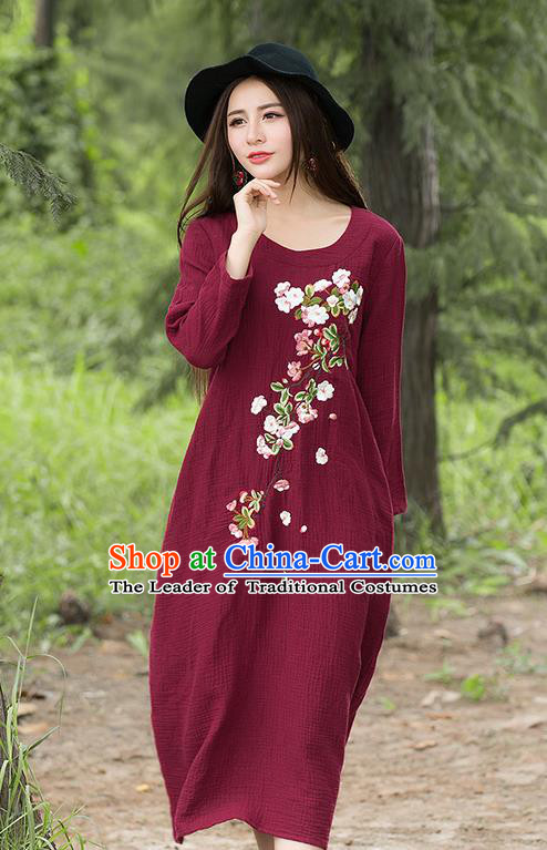 Traditional Ancient Chinese National Costume, Elegant Hanfu Embroidery Linen Red Dress, China Tang Suit Chirpaur Republic of China Cheongsam Upper Outer Garment Elegant Dress Clothing for Women