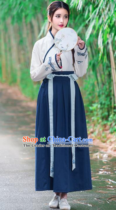 Traditional Ancient Chinese Costume, Elegant Hanfu Clothing Embroidered Slant Opening Blouse and Dress, China Ming Dynasty Young Lady Elegant Blouse and Skirt Complete Set for Women