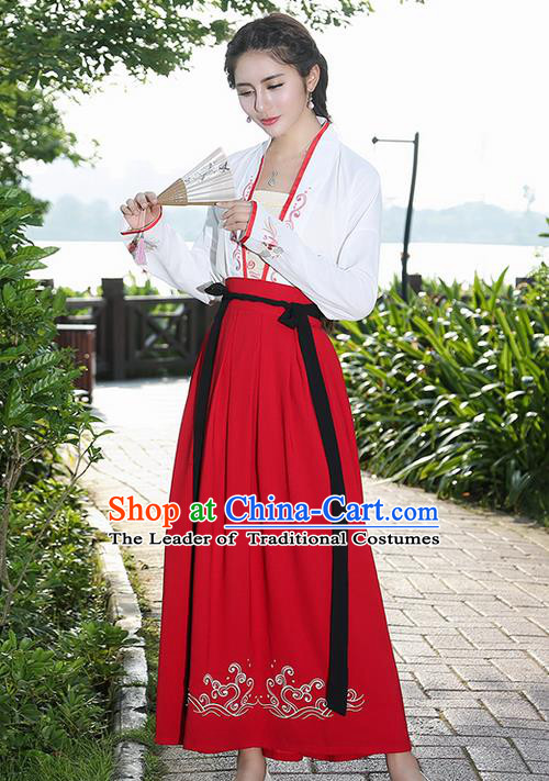 Traditional Ancient Chinese Costume, Elegant Hanfu Clothing Embroidered Blouse and Dress, China Ming Dynasty Princess Elegant Blouse and Skirt Complete Set for Women