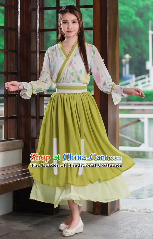 Traditional Ancient Chinese Costume, Elegant Hanfu Clothing Embroidered Bubble Sleeve Blouse and Dress, China Tang Dynasty Princess Elegant Blouse and Skirt Complete Set for Women