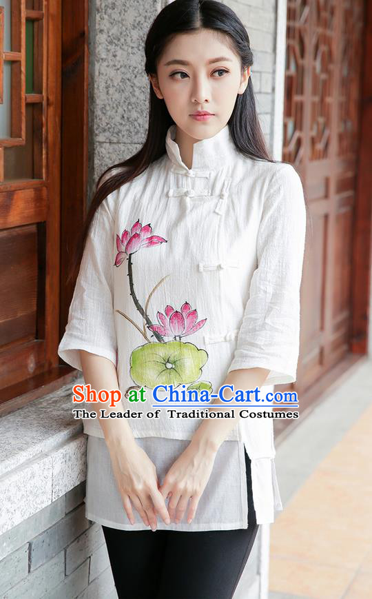 Traditional Chinese National Costume, Elegant Hanfu Painting Lotus Stand Collar White Shirt, China Tang Suit Republic of China Plated Buttons Blouse Cheongsam Upper Outer Garment Qipao Shirts Clothing for Women